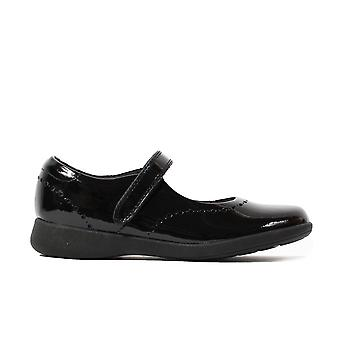 Clarks Etch Craft Kids Black Patent Leather Girls Rip Tape Brogue School Shoes