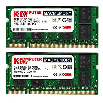 Komputerbay MACMEMORY Apple 8 GB (2x 4 GB) PC2-5300 667 MHz DDR2 SODIMM iMac og Macbook Memory