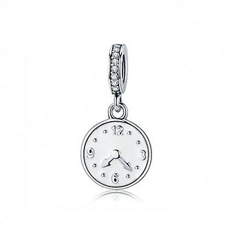 Sterling Silver Pendant Charm Clock The Happiness Time - 5622