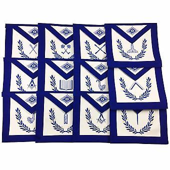 Freimaurer blau Lodge Offiziere Schürzen mit Kranz