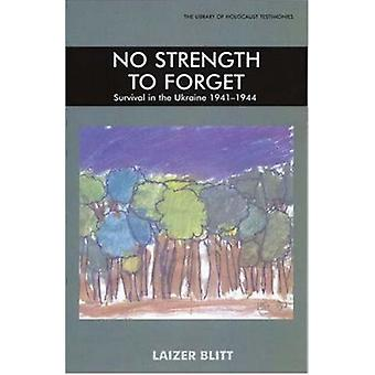 No Strength to Forget - Survival in the Ukraine - 1941-1944 by Blitt L