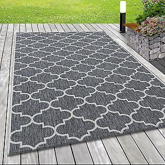 In& & Outdoor platte stof tapijt sisal optische Marokkaanse ontwerp in grijs