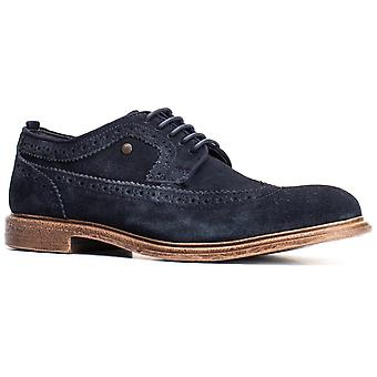 Basis Londen Mens Onyx Suede Lace Up Brogue Navy