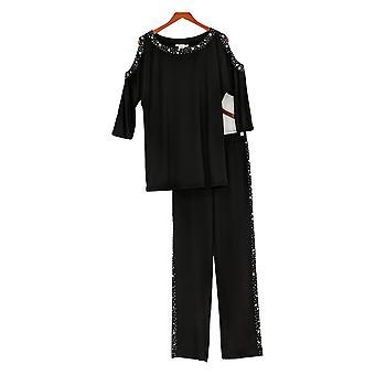 Masseys Set Embellished 3/4 Sleeve Pant Set Black