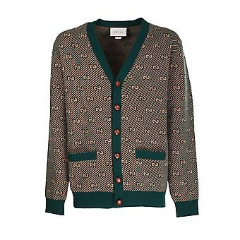 Gucci 630412xkbfz3119 Men's Green Wool Cardigan