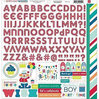 Echo Park Verjaardag wensen Jongen 12x12 Inch Alpha Stickers