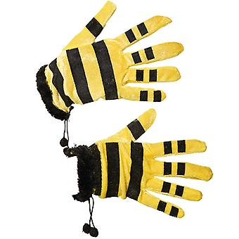 Bee gloves yellow black striped glove accessory Carnival