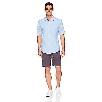 Essentials Men & apos;s العادية تناسب قصيرة الأكمام عارضة قميص بوبلين, الأزرق st ...