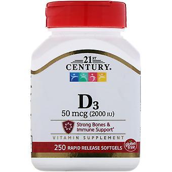 21ème siècle, vitamine D3, 50 mcg (2 000 UI), 250 Softgels liquides