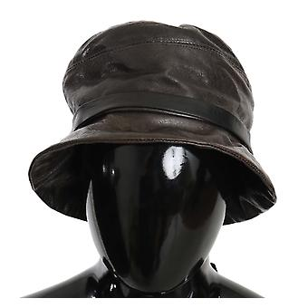 Dolce & Gabbana Brown Lamb Leather Bucket Hat -- HAT7477168