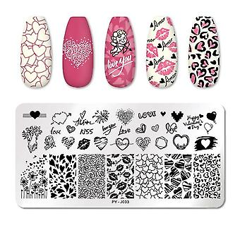 Valentine's Day Nail Stamping Plates - Love, Rose, Flower, Stamp Plate
