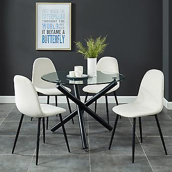 Madeline/James 5Pc Dining Set - Black Table/Grey Chair