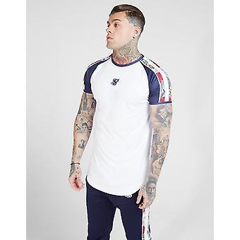 New SikSilk Men's Curved Hem T-Shirt White