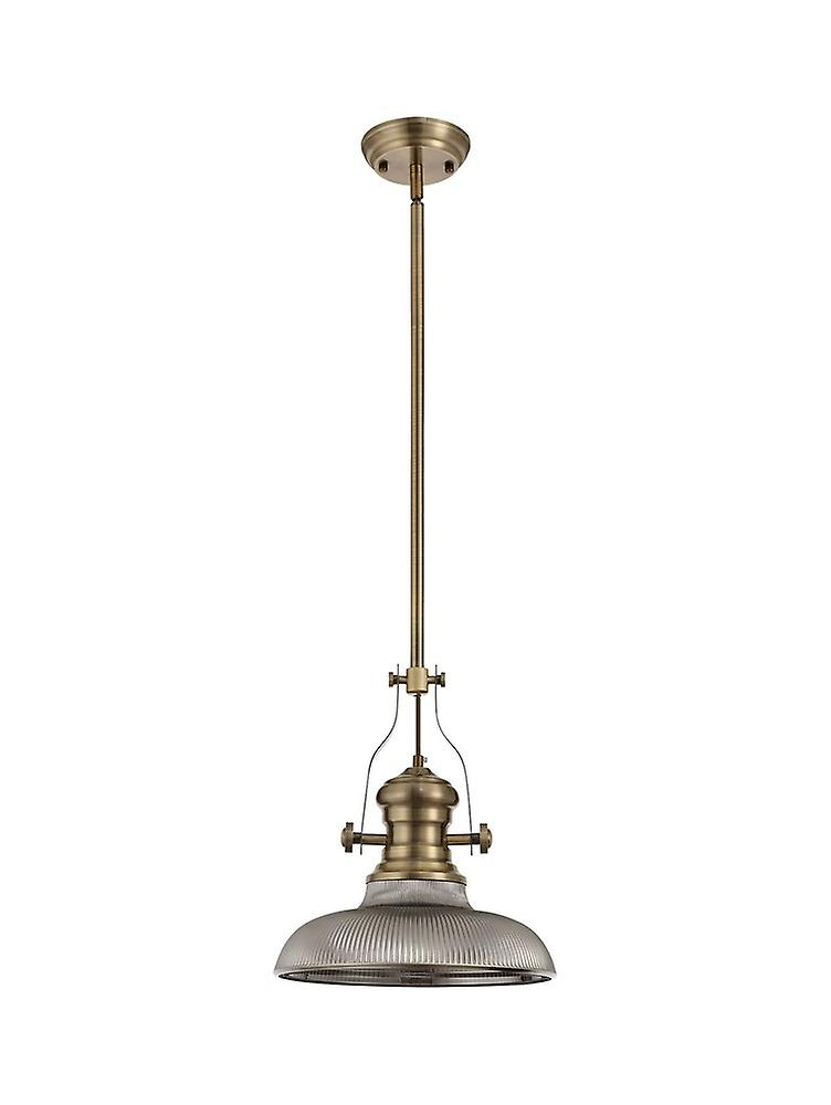 Telescopic Dome Ceiling Pendant E27 With 30cm Round Glass Shade, Antique Brass, Smoked