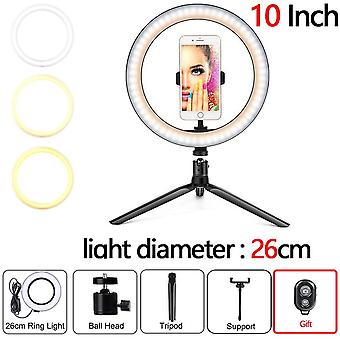 Led Selfie Ringlight Photography Flash Lamp With Tripod Stand For Makeup/youtube Vk Video
