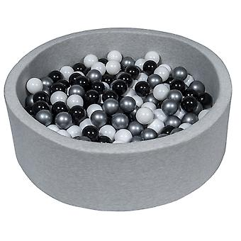 Poço de bola 90 cm com 300 bolas pretas, brancas e prateadas