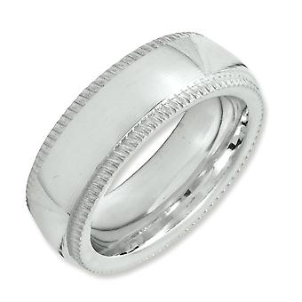 925 Sterling Silver 6mm Comfort Fit Milgrain Band Ring - Ring Size: 4 to 13.5