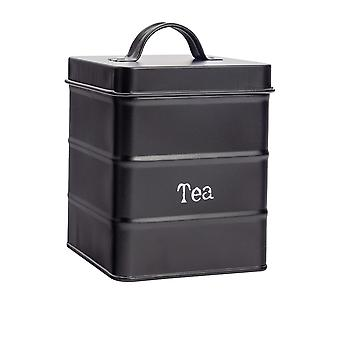 Industrial Tea Canister - Vintage Style Steel Kitchen Storage Caddy with Lid - Black