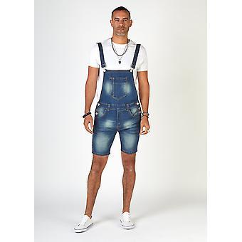Whitefield mens super skinny denim dungaree shorts