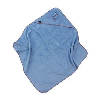Puckdaddy Hooded Towel Gunda 103x106cm Baby Towel com motivo de âncora em azul claro