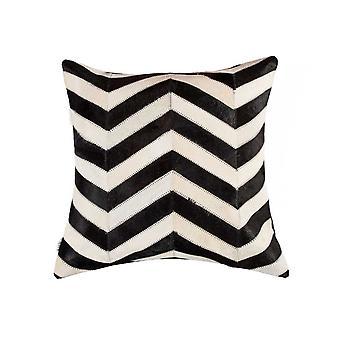 "18"" x 18"" x 5"" Lovely Black & Natural Kobe Cowhide - Pillow"