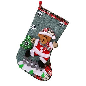Linen Large Christmas Stocking Christmas Decoration Christmas Gift Bag Children Candy Bag 3 Pieces