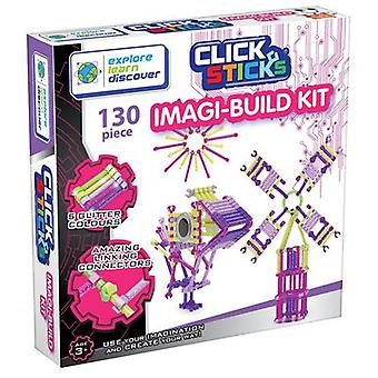 Click Sticks 130 Piece ImagiBuild Kit Glitter Colours
