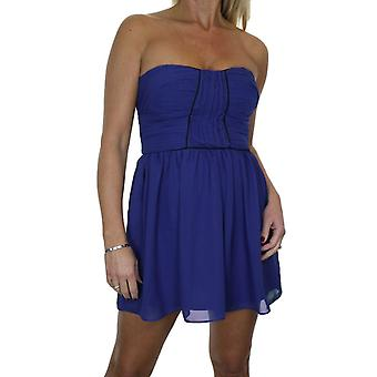 Women's Skater Style Bandeau Strapless Mini Dress Ladies Fully Lined Chiffon Party Summer Dress 6-14