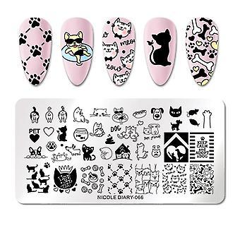 Modèles mélangés de pochoir d'ongle de modèle - fleurs, animaux, plaques de timbre d'ongle