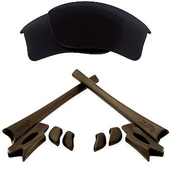 Replacement Lenses & Kit for Oakley Flak Jacket XLJ Black & Brown Anti-Scratch Anti-Glare UV400 by SeekOptics