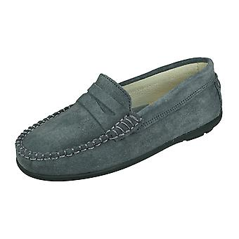 Angela Brown Hadley Kids Suede Leather Moccasins / Slip on Shoes - Gris