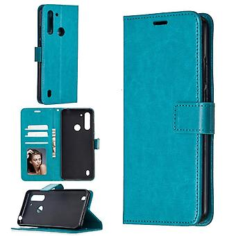 For Motorola Moto G8 Power Lite Crazy Horse Texture Horizontal Flip Leather Case with Holder & Card Slots & Wallet & Photo Frame(Blue)
