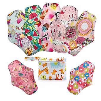 Reusable Bamboo Charcoal Print Color Menstrual Pads + Mini Bag Random Color