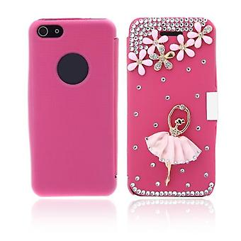 Flip Leather Bling Flower Case Cover PU Skóra do iPhone'a 5 5s Rose