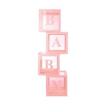 Baby Shower Transparent Cube Balloon Decoration Party Box Girl Boy 4pcs