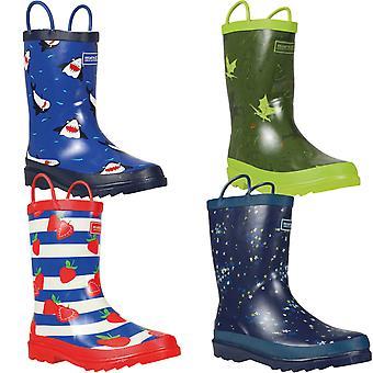 Regatta Kids Minnow Printed Outdoor Pull Handle Wellington Boots Wellies
