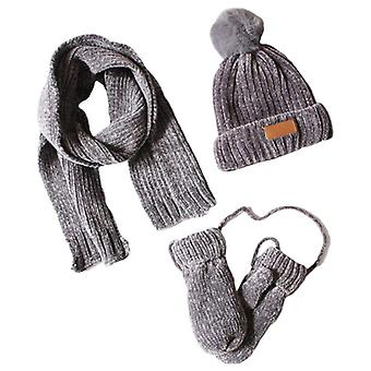 Toddler Kids, Winter Ribbed Knit Warm Pompom Beanie Hat, Scarf, Gloves Set