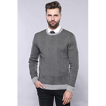Circle neck grey sweater | wessi