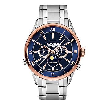 Roamer 508821 47 43 50 Superior Moonphase Blue Dial Wristwatch