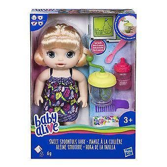Dziecko żyje słodkie łyżki blondynka dziewczynka lalka
