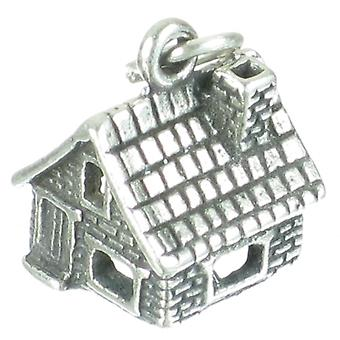 Stone House Cabin Sterling Silver Charm .925 X 1 Houses Cabins Charms - 2713
