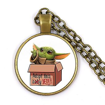 Yoda Baby On Board Pendant Necklace, The Mandalorian Theme Series, Cartoon