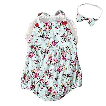 Rose Floral Printed Baby Vintage Baby Girls Romper Playsuit