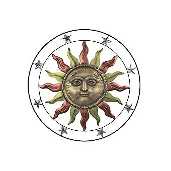 Colorful Gloss Painted Metal Art Celestial Sun Face Indoor Outdoor Wall Hanging 36 Inch Diameter