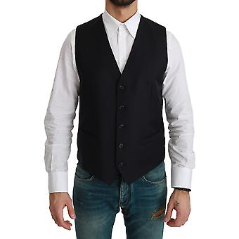 Blue Waistcoat Formal Stretch Wool Vest