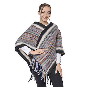 Spring Style Gestreepte Poncho met Zwarte Rand en Kwastje Zoom