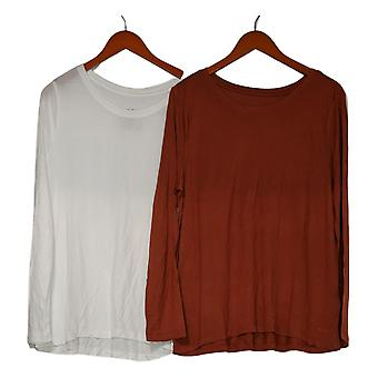 Peace Love World Women's Top Set of 2 Round Neck Tee Bundle White A391126