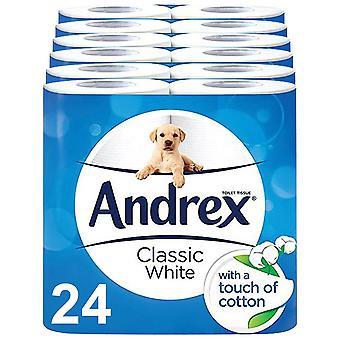 Andrex Toilettenrolle Classic White Fragrance-Free 2 Ply Toilettenpapier, 24 Rollen