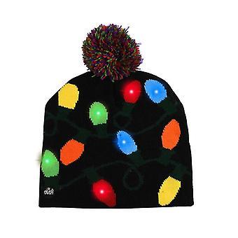 Led Hut Pullover gestrickte Mütze Weihnachten Leuchten Bis Mütze