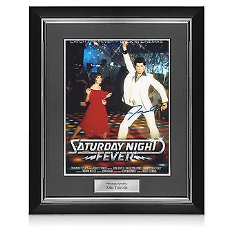 John Travolta signerad Saturday Night Fever Film Poster. Deluxe ram